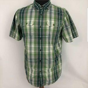 The North Face Men Short Sleeve Shirt Green Plaid